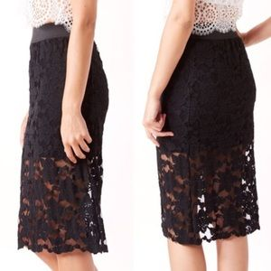 Free people black lace pencil skirt xs